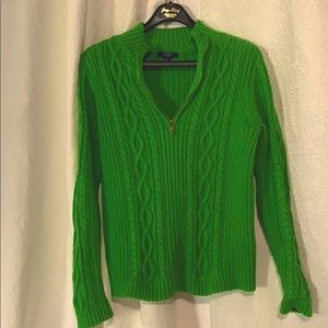 LN Chaps green cotton cable knit sweater